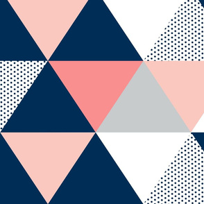 Blush, Navy, Grey Dot Quilt - Triangle Cheater Quilt - Baby Blanket