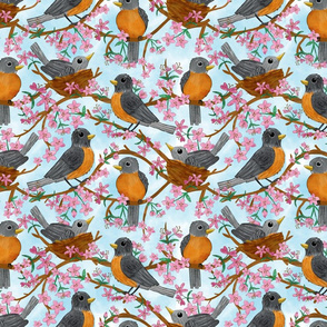 Robins in the Cherry Tree