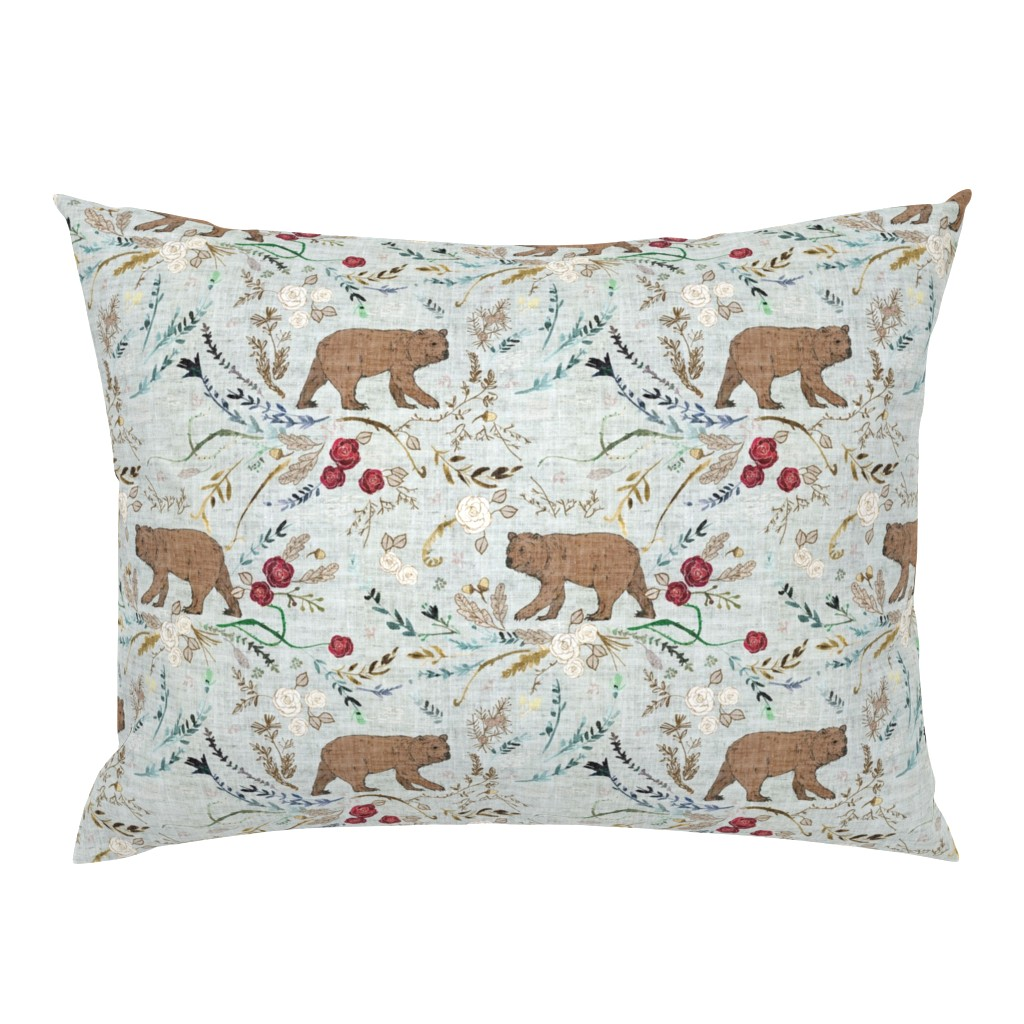 Campine Pillow Sham featuring Snow white & rose red (blue)  by nouveau_bohemian