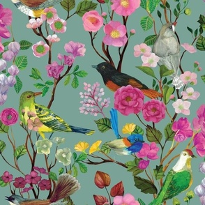 Birds and Blooms Chinoiserie {Duck Egg}