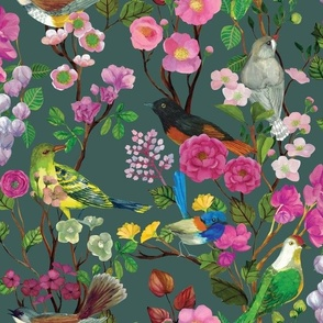 Birds and Blooms Chinoiserie {Grey Moss}