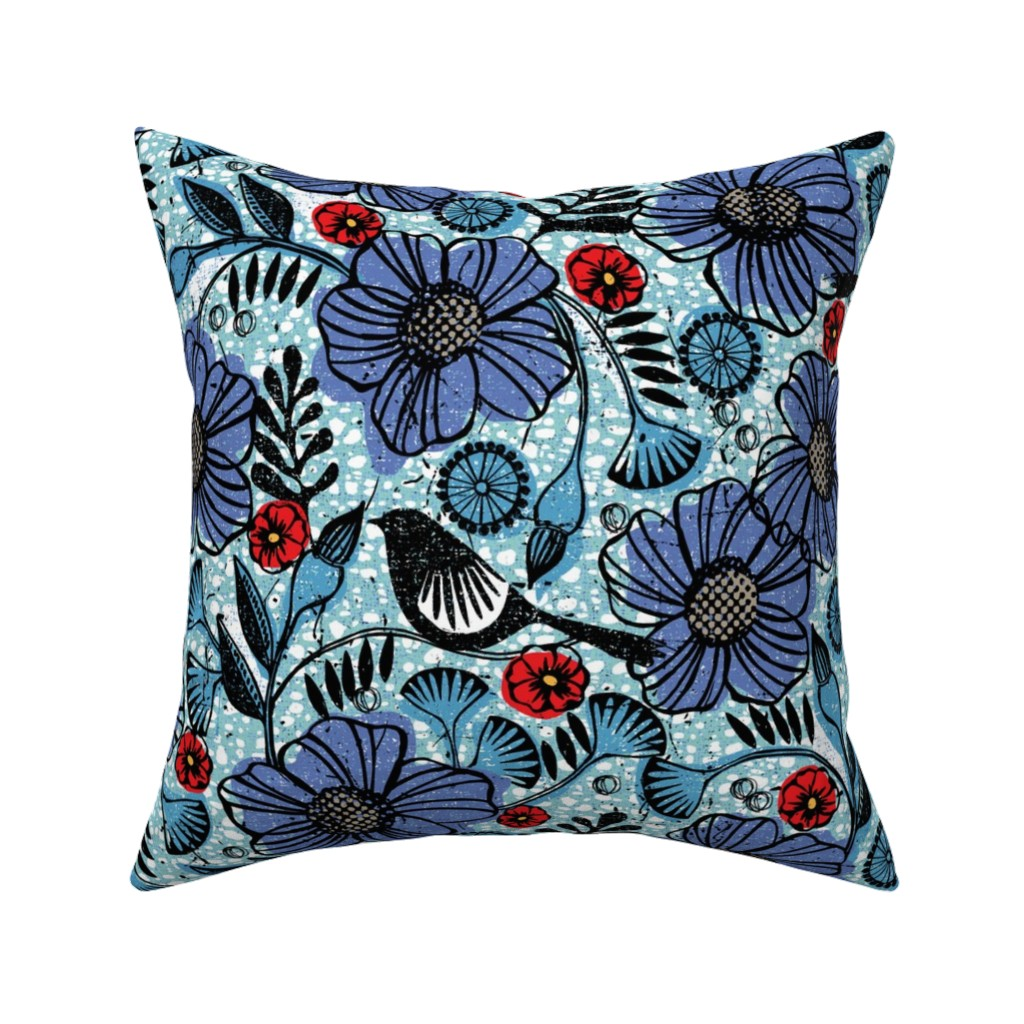 Catalan Throw Pillow featuring Blue blooms and black birds-floral-flowers-summer by ottomanbrim