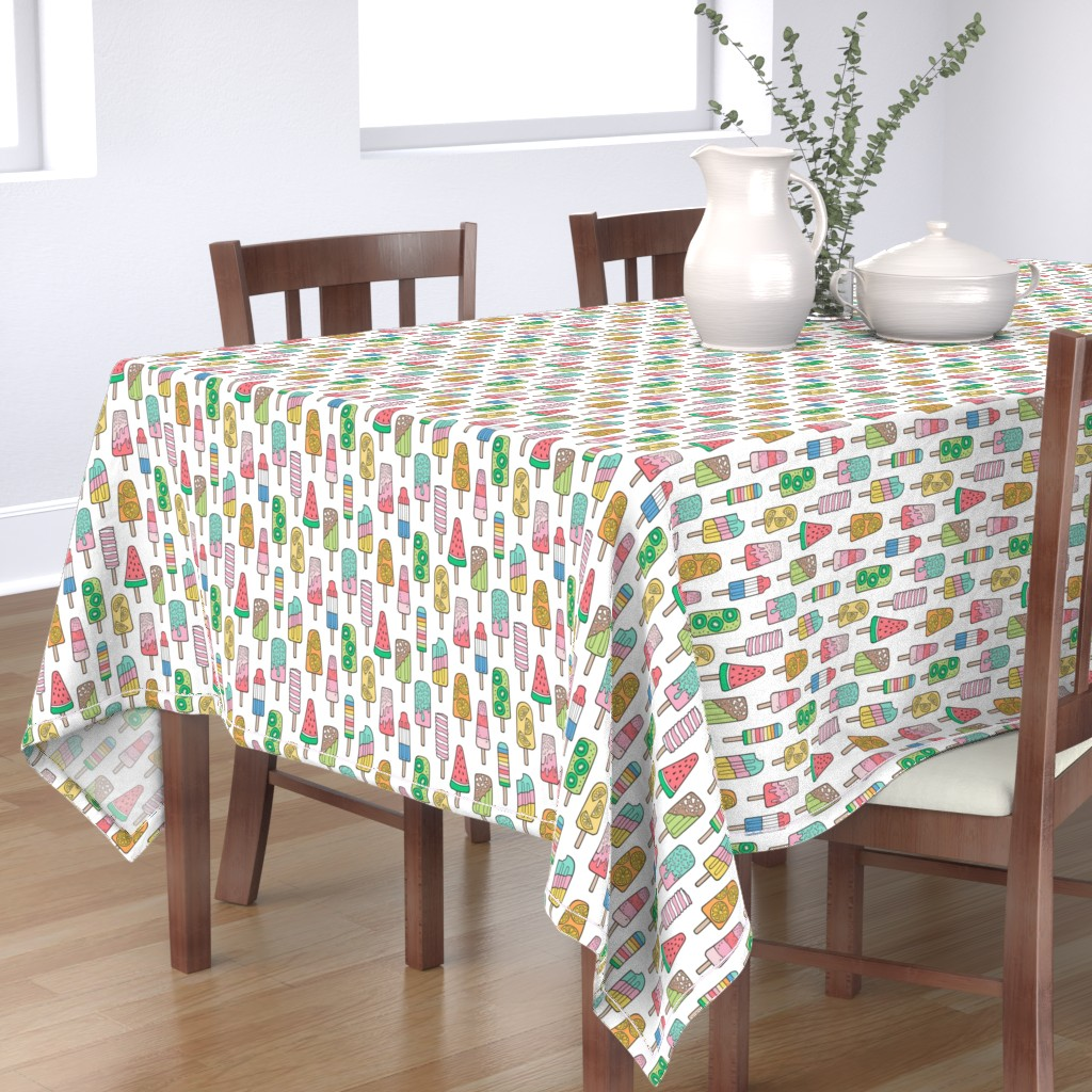 Bantam Rectangular Tablecloth featuring Popsicle Colourful Summer Ice Cream with Fruit and Sprinkles on White by caja_design