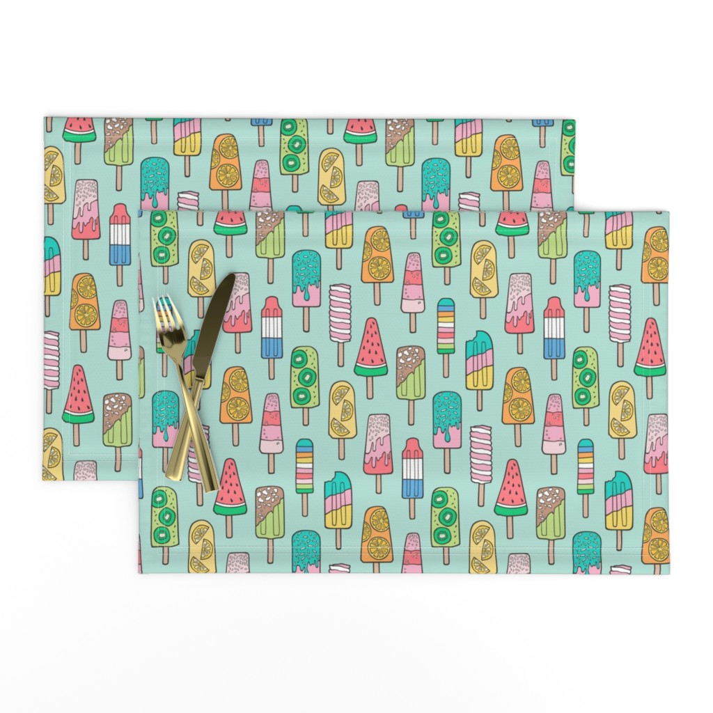 Lamona Cloth Placemats featuring Popsicle Colourful Summer Ice Cream with Fruit and Sprinkles on Mint Green by caja_design