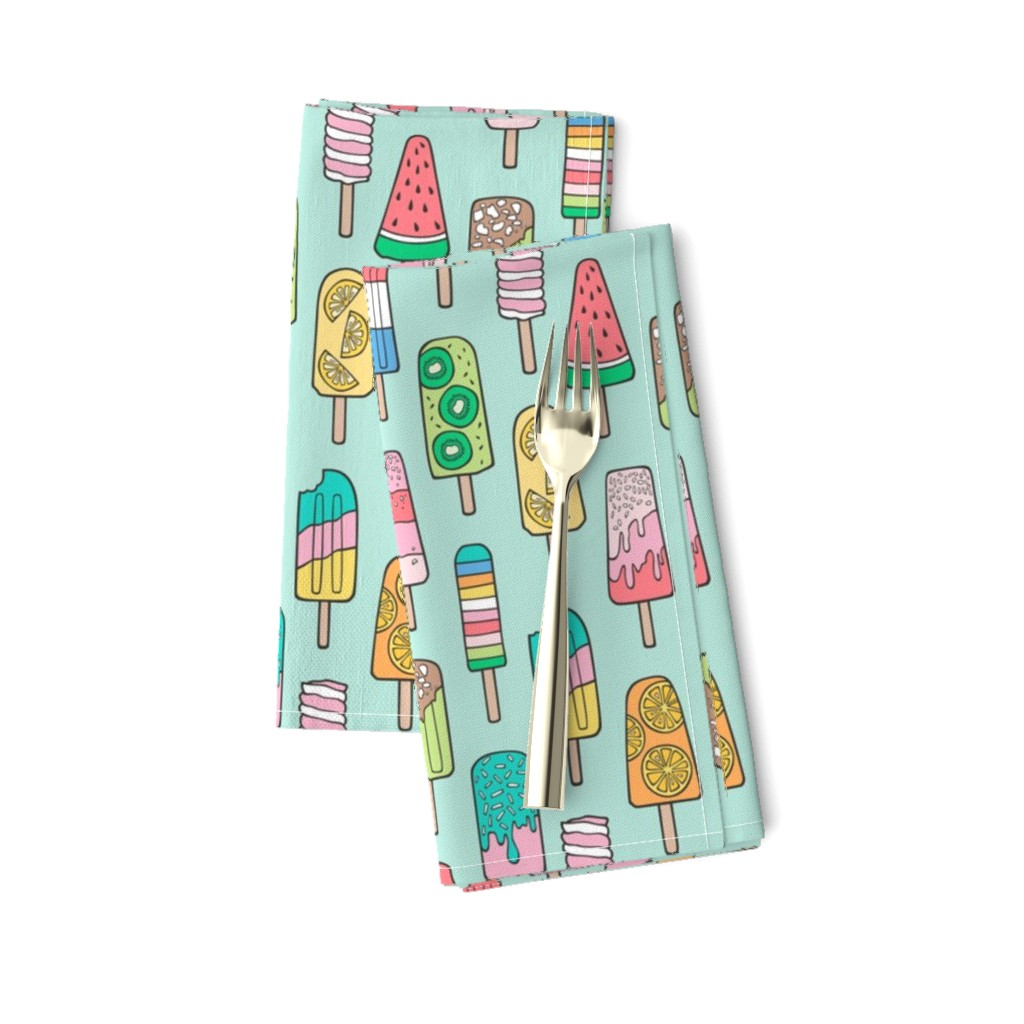 Amarela Dinner Napkins featuring Popsicle Colourful Summer Ice Cream with Fruit and Sprinkles on Mint Green by caja_design