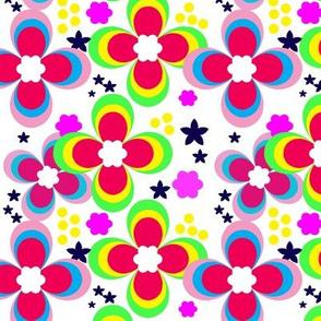 Bright multi-colored floral pattern