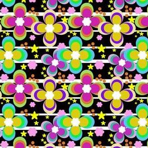 Bright multi-colored floral pattern .