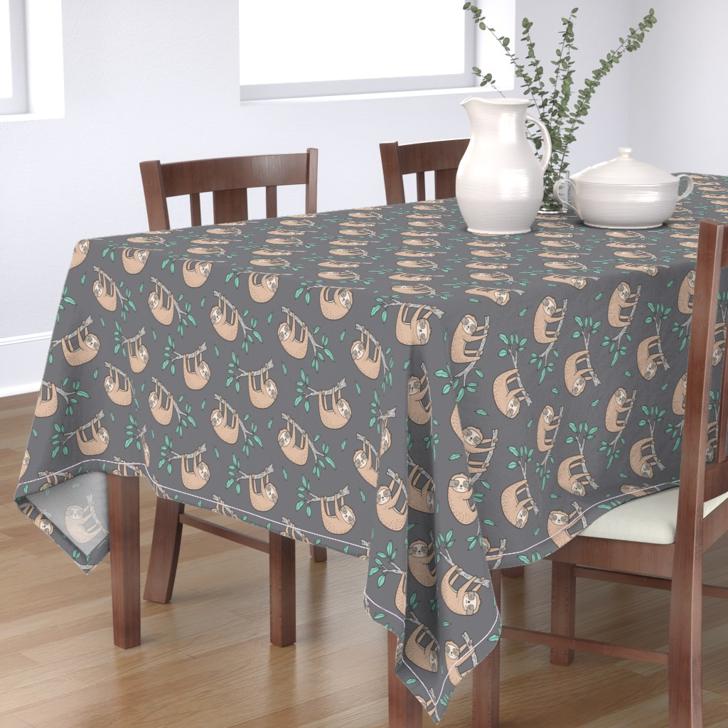Bantam Rectangular Tablecloth featuring Sloth Sloths on Tree Branch with Leaves on Grey by caja_design