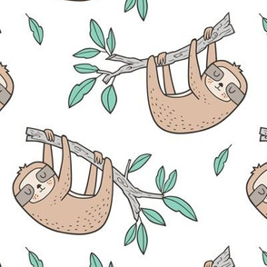 Sloth Sloths on Tree Branch with Leaves on White