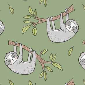 Sloth Sloths on Tree Branch with Leaves on Green