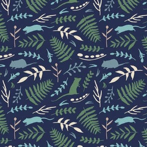 Rats and Ferns (navy)