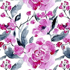 Purple & grey watercolor flowers