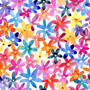 Multicolor watercolor flowers