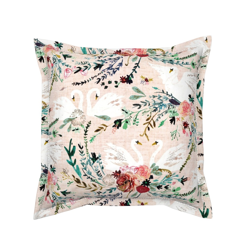 Serama Throw Pillow featuring Fable Swan Damask (MED) (blush/white) by nouveau_bohemian