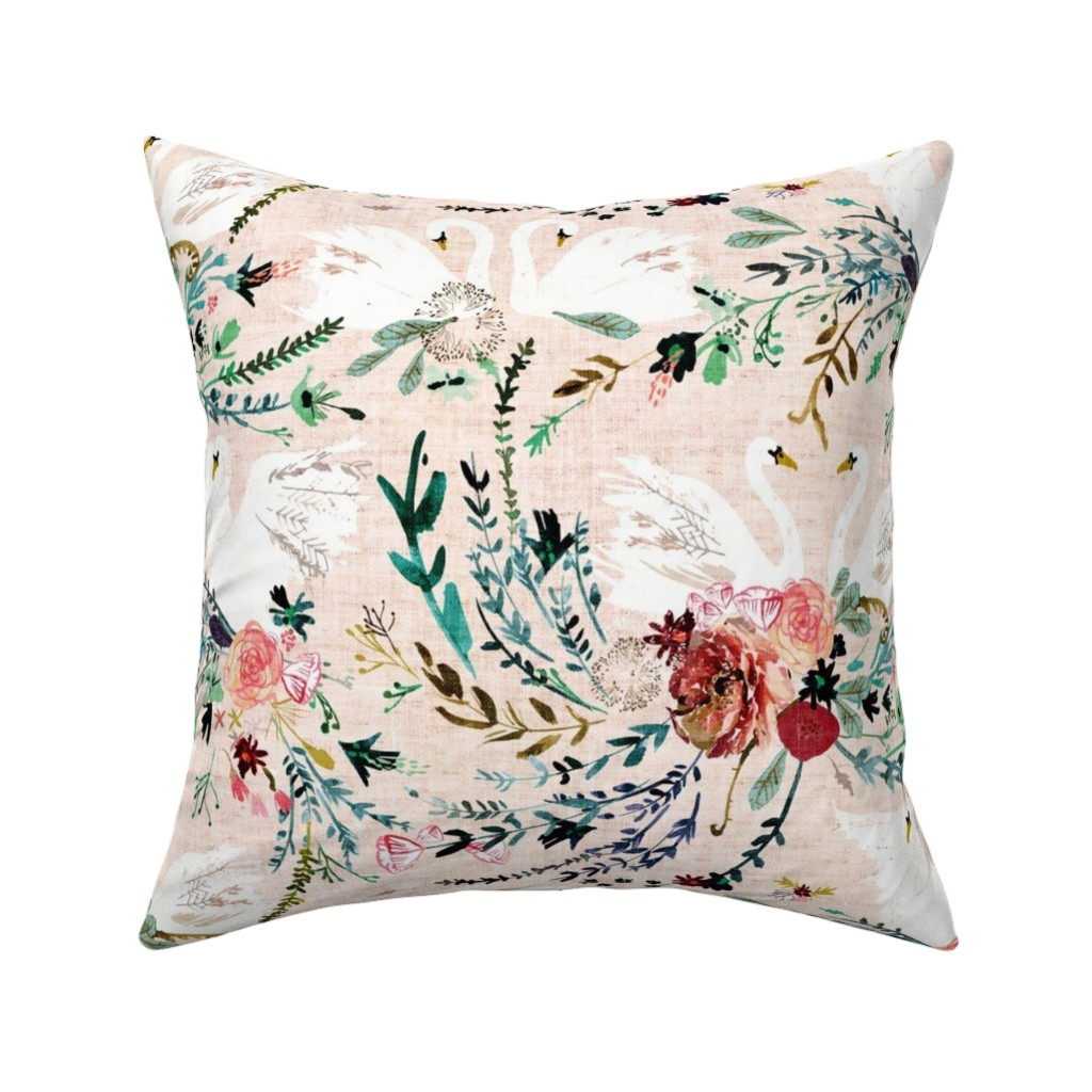 Catalan Throw Pillow featuring Fable Swan Damask (MED) (blush/white) by nouveau_bohemian
