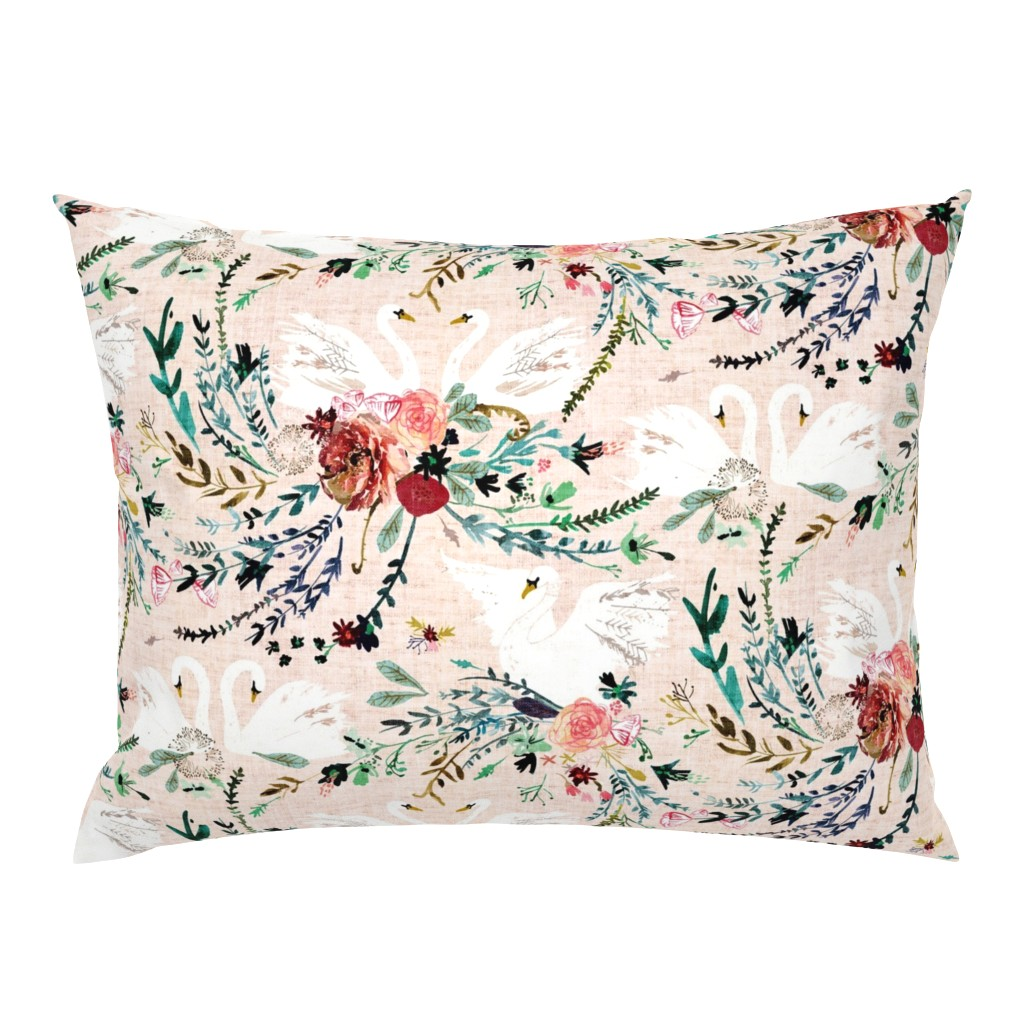 Campine Pillow Sham featuring Fable Swan Damask (MED) (blush/white) by nouveau_bohemian