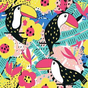 Toucan floral pattern