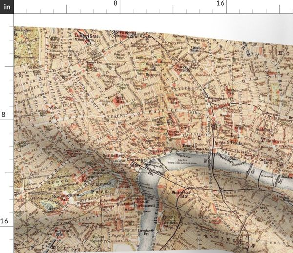 Map Over London.Fabric By The Yard London Vintage Map Large