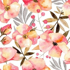 Pink watercolor flowers & branches