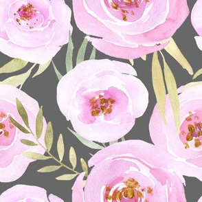 Pink blush watercolor flowers & leaves