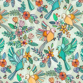 Whimsical Summer Flight in Emerald and Apricot small version