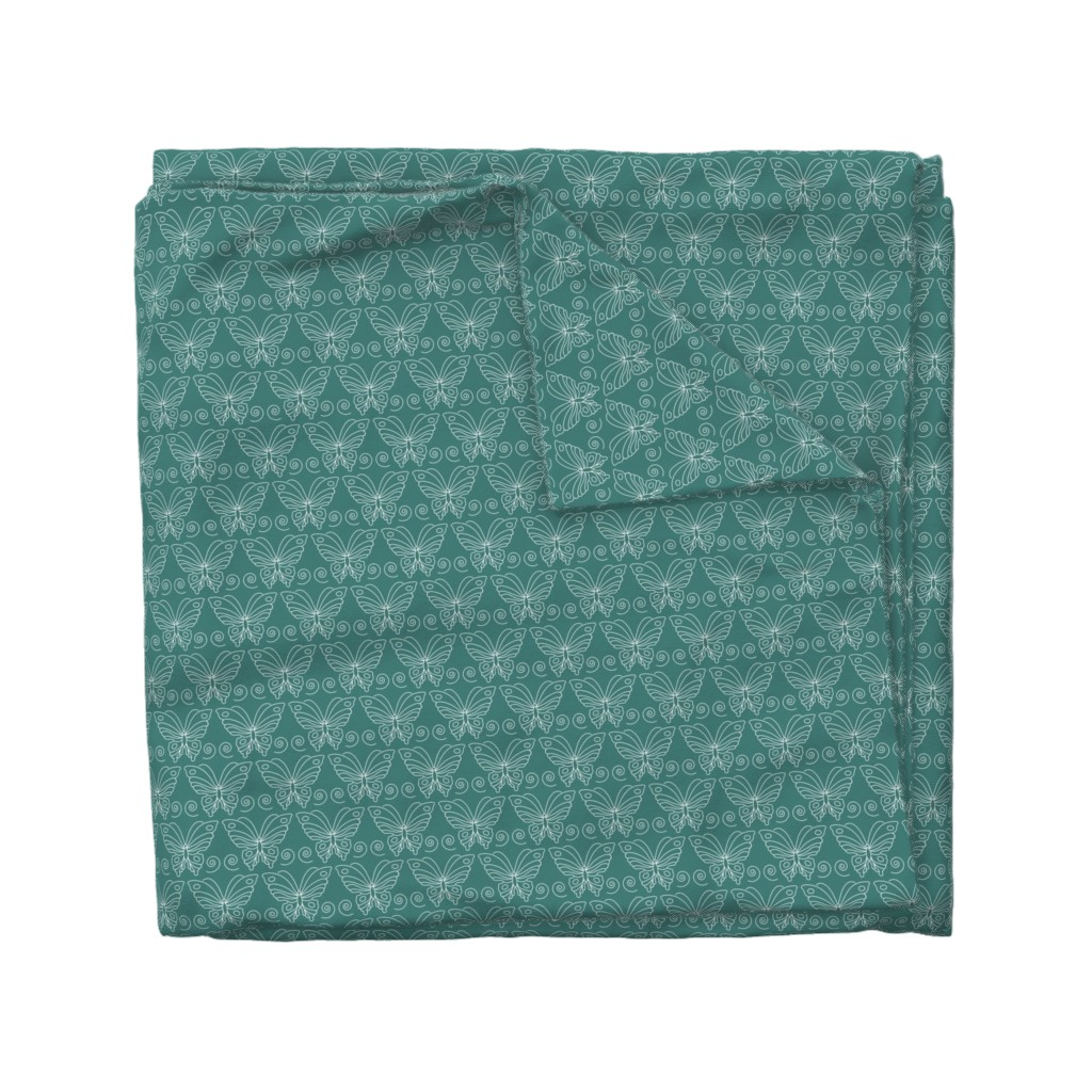 Wyandotte Duvet Cover featuring Butterfly-2 - white-lines on BLUEGREEN-175 by mina