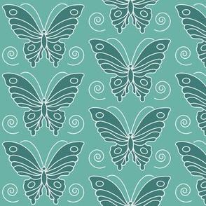 Butterfly drawing 2 -  dk bluegreen 175 on lt minagreen 170