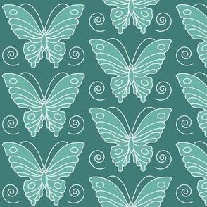 Butterfly drawing 2 -  lt minagreen 170 on dk bluegreen 175