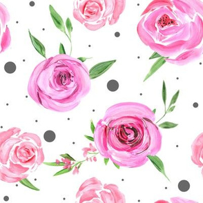 Acrylic & watercolor pink roses