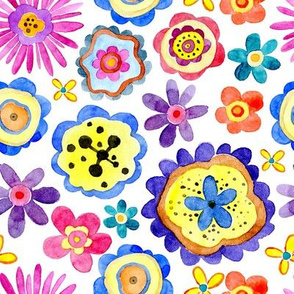 Watercolor childish unreal bright colorful flowers