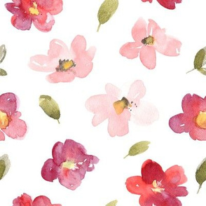 Watercolor burgundy red and pink flowers
