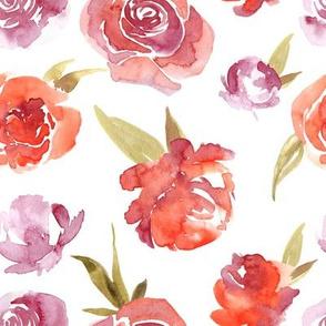 Watercolor red flowers roses peonies