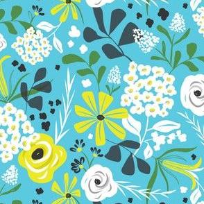 Darcy - Retro Floral - Aqua Blue Regular Scale