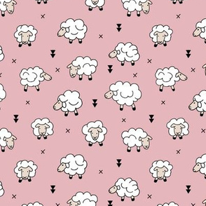 Wool and sleep adorable baby sheep sweet dreams pastel pink