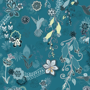 Birds and Blooms Seamless Repeating Pattern on Dark Blue