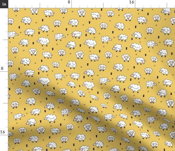 Fabric by the Yard Wool and sleep adorable baby sheep sweet dreams yellow  ochre