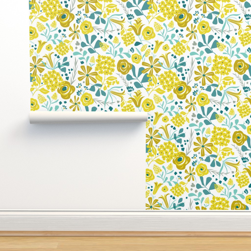 Darcy Modern Floral Mustard Yellow On Isobar By Heatherdutton