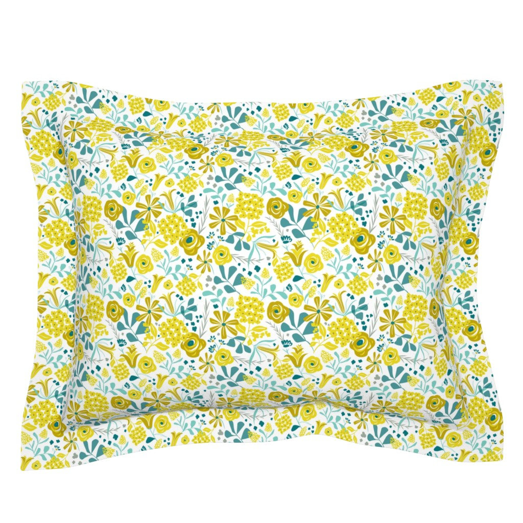 Sebright Pillow Sham featuring Darcy - Modern Floral Mustard Yellow & Teal by heatherdutton