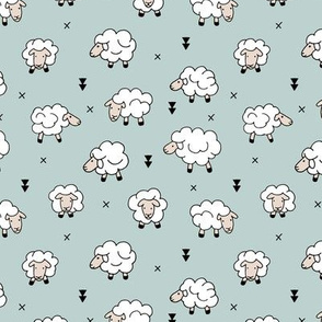 Wool and sleep adorable baby sheep sweet dreams soft blue