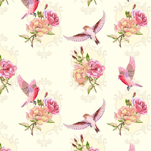 birds and rose blooms - sunshine