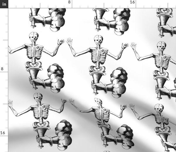 Fabric by the Yard skulls skeletons death anatomy vintage black white  monochrome eerie macabre spooky bizarre morbid anatomical studies happy  hands