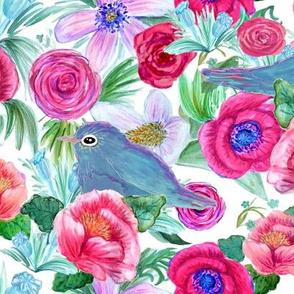 Watercolor peony &  bluebird floral