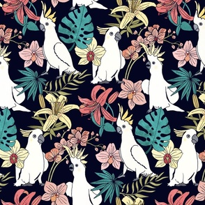 Tropical Floral with Cockatoos