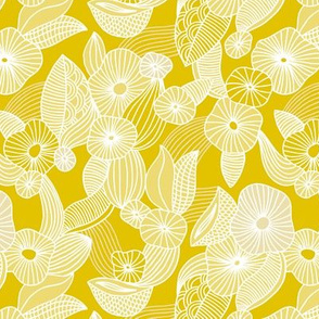 Retro mid century style flowers and blossom summer leaves ochre yellow
