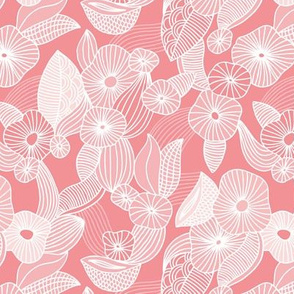 Retro mid century style flowers and blossom summer leaves pastel pink