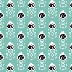 Fruity blossom retro style passion fruit garden summer mint blue