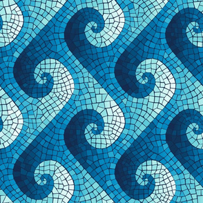 wave mosaic - navy, blue, cyan, aqua - sideways