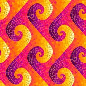 sideways wave mosaic - purple, hot pink, orange, yellow, white