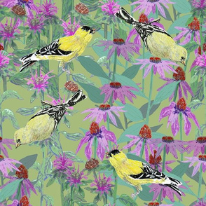 Goldfinches and Purple Flowers