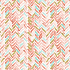 coral mint gold herringbone small scale